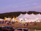 The MMF's 800 seat concert hall tent at twilight.